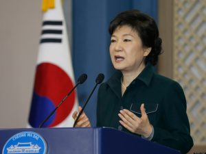 South Korea's President Park Geun-Hye addresses the nation at the presidential Blue House in Seoul on March 4, 2013. Park made a public apology on March 4 for a deadlock in state affairs, a week after she was inaugurated as the country's first woman leader.     AFP PHOTO / POOL / Lee Jae-Won        (Photo credit should read LEE JAE-WON/AFP/Getty Images)