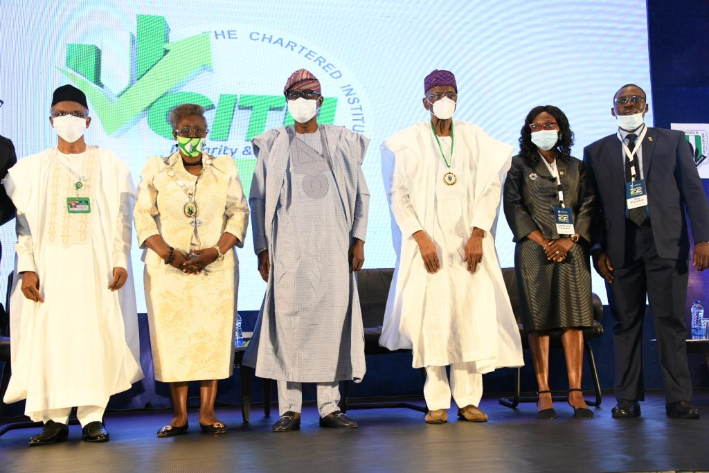 Kaduna State Governor, Mallam Nasir El-Rufai; President/Chairman, Chartered Institute Of Taxation Of Nigeria (CITN), Dame Gladys Olajumoke Simplice; Lagos State Governor, Mr. Babajide Sanwo-Olu; The Doyen Of Taxation In Nigeria, Chief David Olorunleke; Chairman, 22nd Annual Tax Conference, Dr. Titilayo Fowokan and Vice President, CITN, Mr. Adesina Adedayo, during the 22nd Annual Tax Conference of the Chartered Institute of Taxation Of Nigeria (CITN) at Eko Hotel & Suites, Victoria Island on Thursday, November 5, 2020.