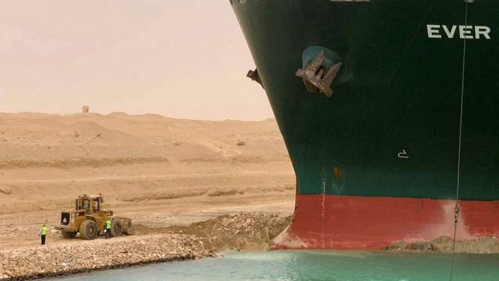Suez Canal Blocked after Huge Container Ship runs aground