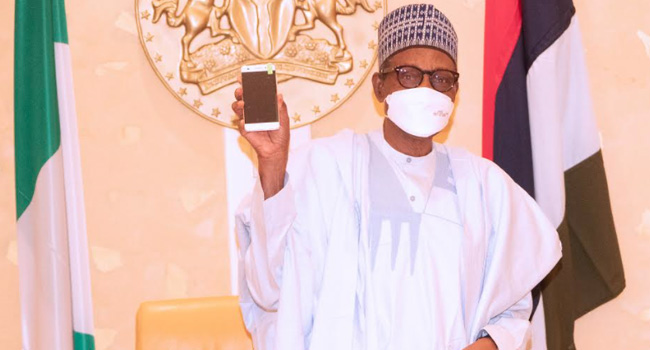Buhari Receives Made In Nigeria Mobile Phones