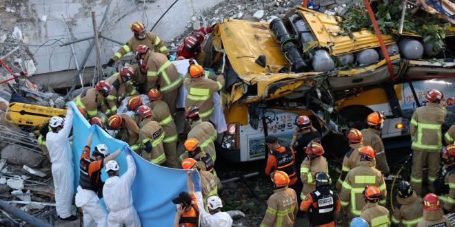 Nine People Killed After Bus Crushed In South Korea Building Collapse